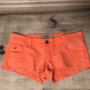 Hollister hot orange jean shorts
